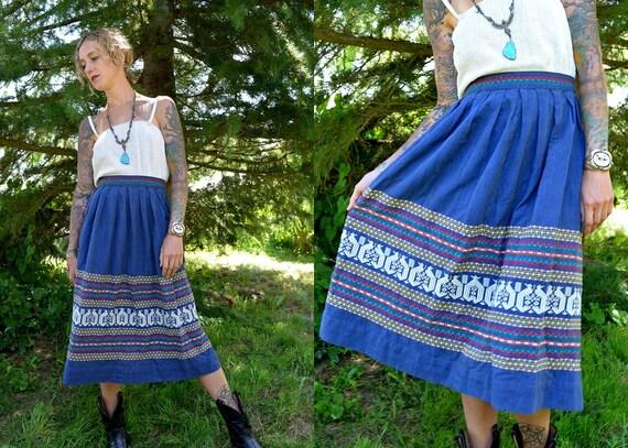 1960's Bohemian Ethnic Guatemalan Traveler Skirt