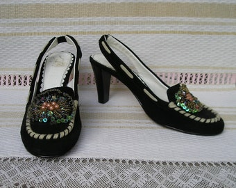 Vintage SUEDE leather embroidered heels, size 36 (EUR), 6 (US)