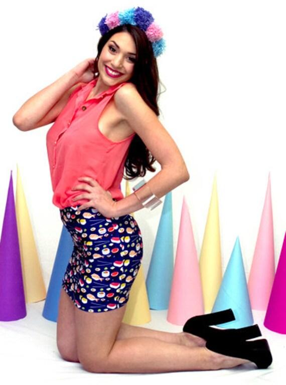 High waisted skirt, Sushi Print Skirt - S/M