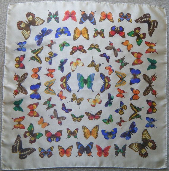 STUNNING Entomology Butterfly Study Silk Scarf, 1960s Italy