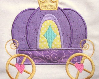 Princess Carriage Machine Applique Embroidery Design - Princess Carriage Applique - Carriage Applique - Princess Applique - Applique Design