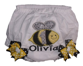 Boutique Bubble Bee Birthday Bloomers with Bows
