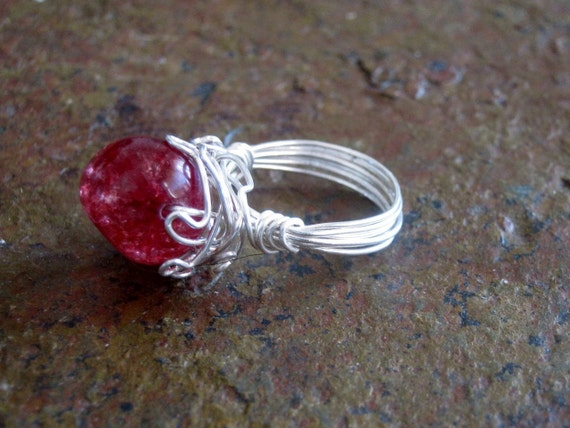 Pink Tourmaline Ring in Sterling Silver Wire Wrap