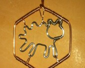 Settlers of Catan Sheep Pasture Hex Wire Wrapped Pendant