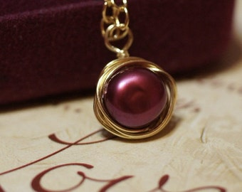 Wire Wrapped Red Pearl Pendant Gold Plated Wire Wrapped Wire Wrapped Gemstone  Add dangle 22X12mm