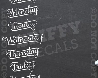 Chalkboard Calendar - Days of the Week - Removable Vinyl Wall Decal -
