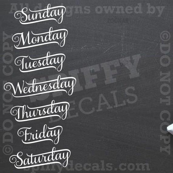 Chalkboard Calendar Days Of The Week Removable Vinyl Wall