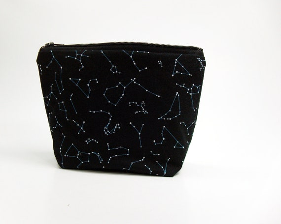Constellations and stars cosmetic bag - 7 inch zipper pouch