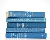 Blue Vintage 5 Book Collection Interior Design Vintage Book Decor