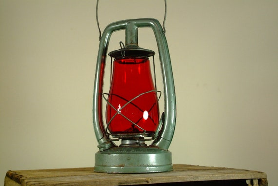 Antique Green With Red Glass Globe Lantern by Embury Mfn. of NY.