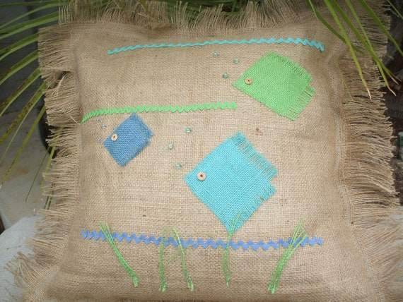 Beach Cottage Burlap Fringed Pillow Cover with Appliqued Fish