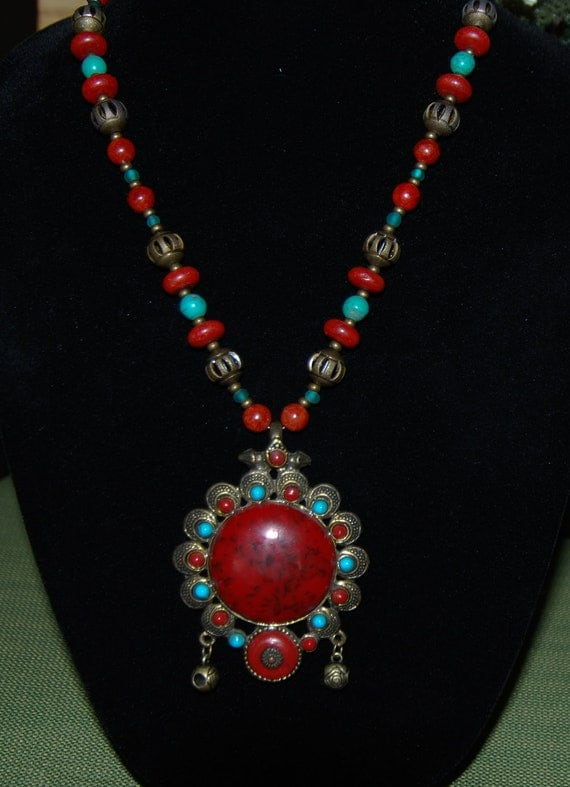 Large Tibetan Inspired Ethnic Pendant with Turquoise and Coral Necklace