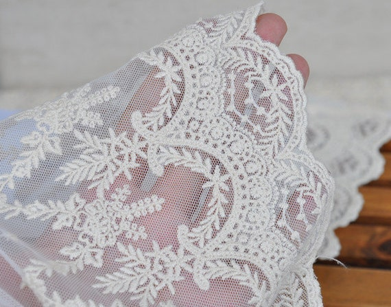 Lace Fabric Trim Vintage Style Embroidered Lace Floral White
