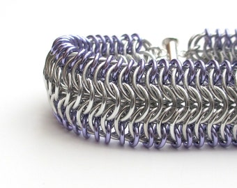 Chainmail cuff bracelet, silver & lavender bracelet, chainmail jewelry for women