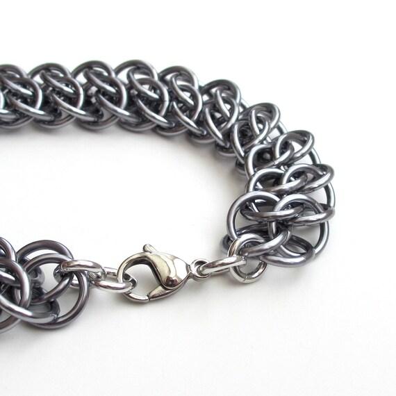 Gunmetal chainmaille bracelet for men or women, GSG weave