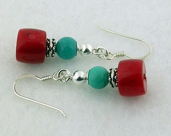 Turquoise And Red Coral Sterling Silver Earrings 04