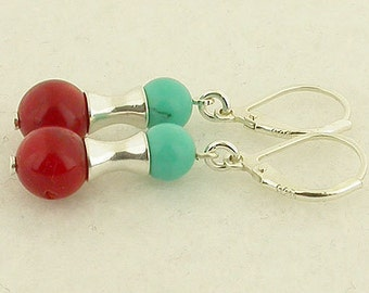 Turquoise And Red Coral Lever Back Sterling Silver Earrings 06