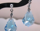 Aquamarine Baroque Earrings, Sterling Silver