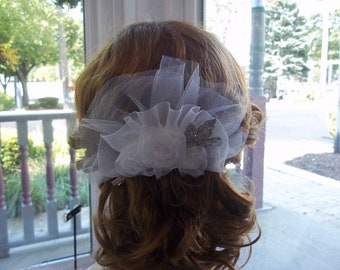 Bridal Statement Comb - White Organza, Tulle, w/Vintage Brooch - OOAK - Vintage - Autumn Wedding - A Bijoux Bridal Chicago Signature Design