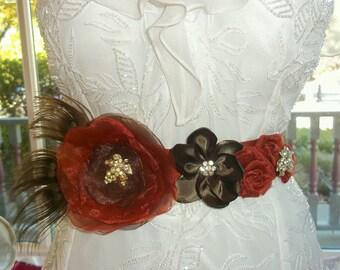 Bridal Sash - Autumn Wedding Sash - Fall Wedding - Copper, Chocolate Brown, Burnt Orange, Rust - A Bijoux Bridal Chicago Signature Design