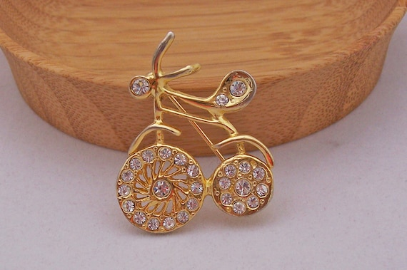 Vintage  Bicycle Brooch, Bicycle, Gold Tone With Clear Rhinestones, Vintage Jewelry