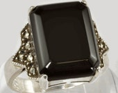 Vintage Sterling Silver Ring with Onyx and Marcasite - Judith Jack