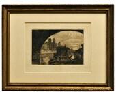 1920s Etching of Paris - Notre Dame - Emile Leroy - Paris Souvenir, Seine River Artwork - Vintage Artwork - Pencil Signed