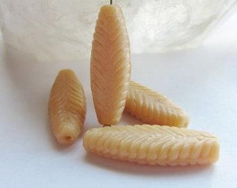 Czech Glass Bead Feather Ivory Silk 29mm x 10mm QTY 4