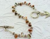 Sterling Silver Beadwork Teardrop Bracelet, Tierracast Clasp and Tierracast Sparrow Charm