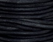 Distressed Dark Gray/Almost Black Leather Round-10 meter spool of 2 mm
