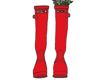 Hunter Boots - 5x7 Illustration Art Print