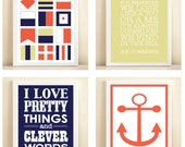 Coral, Navy, & Green Nautical Collection