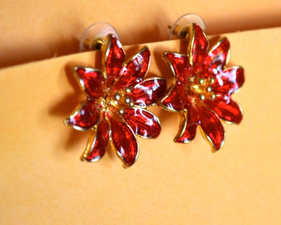 Christmas Earrings, Red Poinsettia, Enamel and Gold Tone, Clearance Sale