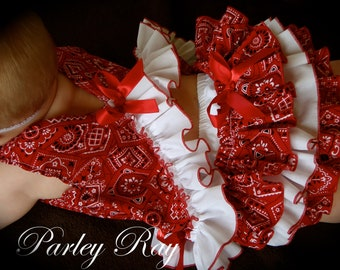 Beautiful Parley Ray Red Bandana Cowgirl Pinafore Dress with Ruffled Baby Bloomers/ Ruffle Diaper Cover /Pageants Photo Prop
