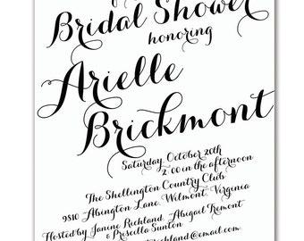 Modern Script Bridal Shower Invitation Calligraphy Baby Shower Invitation Modern Handwritten Script Printable DIY or Printed - Arielle Style