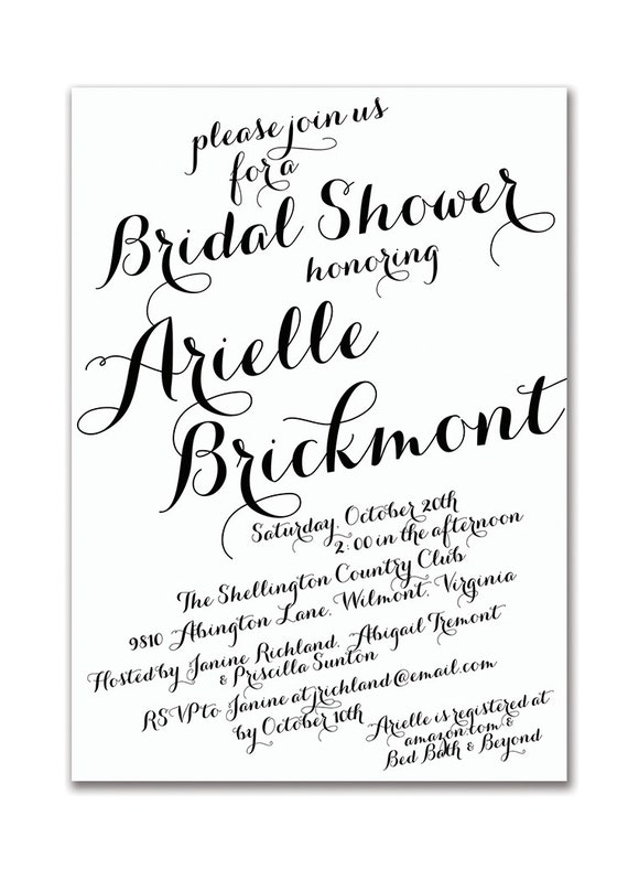 Modern Script Bridal Shower Invitation Calligraphy Baby Shower Invitation Modern Handwritten Script Printable DIY or Printed - Arielle Style