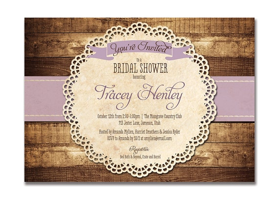 Rustic Bridal Shower Invitation Purple Wood Lace Baby Shower Rustic Wedding Invitation FREE PRIORITY SHIPPING or DiY Printable - Tracey