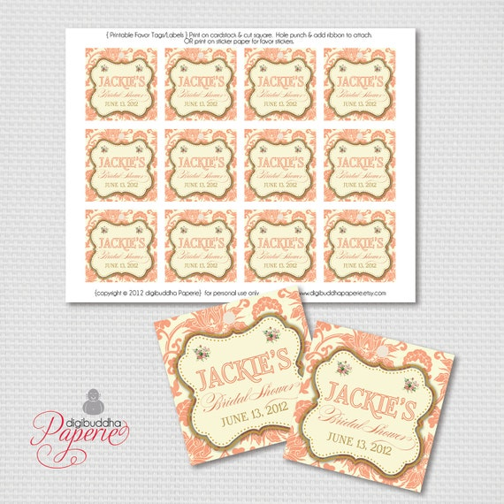 Wedding Shower Favor Tag Template : Tags Coral Damask Gold Bridal Shower Thank You Tags Vintage Favor Tags ...