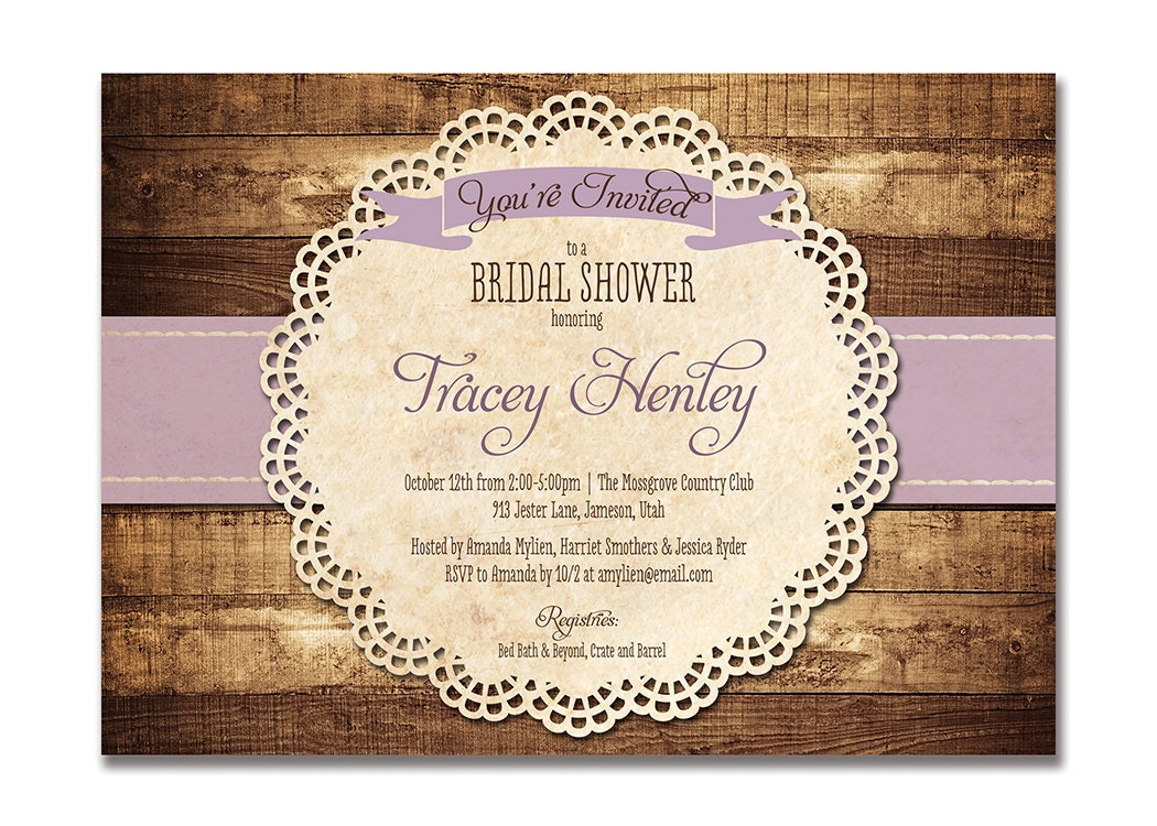 rustic bridal shower invitation purple wood lace baby shower, Wedding invitations