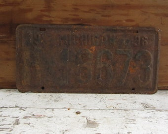 Vintage License Plate Michigan 1936 Rusty Rusted Rust Old Distressed Salvaged Metal Antique License Plate