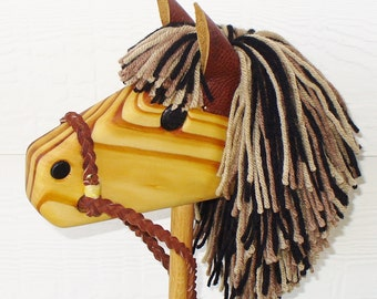 Hobby Horse - Wooden Stick Horse Toy with Brown, Black, and Tan Mane - Rust Reigns - Personalized
