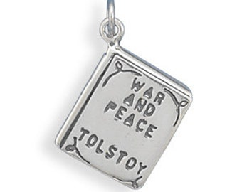 War and Peace Book Charm - 925 Sterling Silver