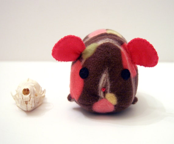 Hamsterlump Choco Spots, hamster in brown with spots, pink, green, orange, yellow, white stripes creature plush stuffed animal Muser