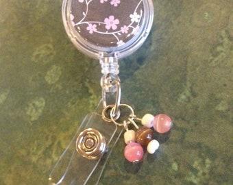 Nurse/Teacher/Worker ID/Badge Reel - Brown & Pink (With Flowers) --#BP00016