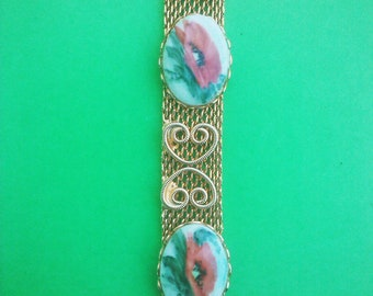 Vintage 1950s 1960s Porcelain Cameo Bracelet Poppy Poppies