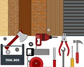 Tools Clipart, woodwork Clipart, tool Paper, Building Clipart, Instant Download