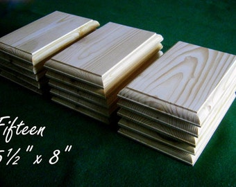 """15 Piece 5.5"""" x 8"""" Crafters Unfinished DIY Wood Plaques Signs Bases"""