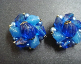 spectacular COBALT BLUE   EARRLNGS  Clip Style Vintage Made and Signed West Germany