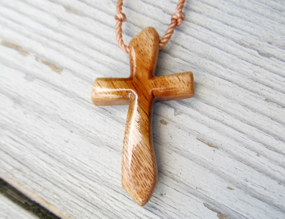 Mens Jewelry - Rustic Hand Carved Cross - Hawaiian Kamani Wood - Necklaces for Men