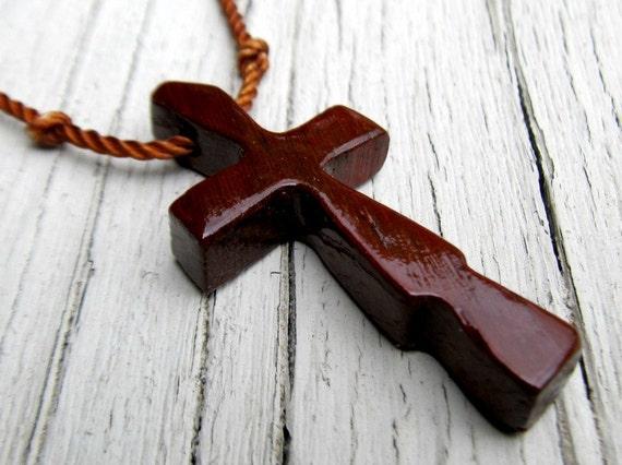 African Paduak - Rustic - Hand Carved Cross - Mens Jewelry